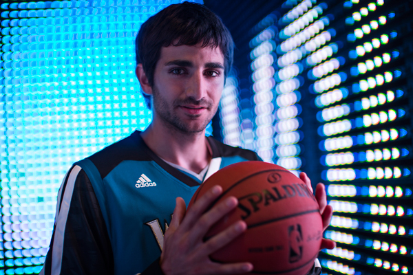 Ricky Rubio models the Timberwolves' new shooting shirt. (Adidas)