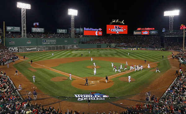 Aerial shot of Fenway after the final out. (AP Photo/Matt Slocum)