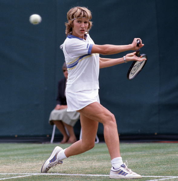 On this day in 1984, Steffi Graf played her first professional tennis match. (Bob Thomas/Getty Images)