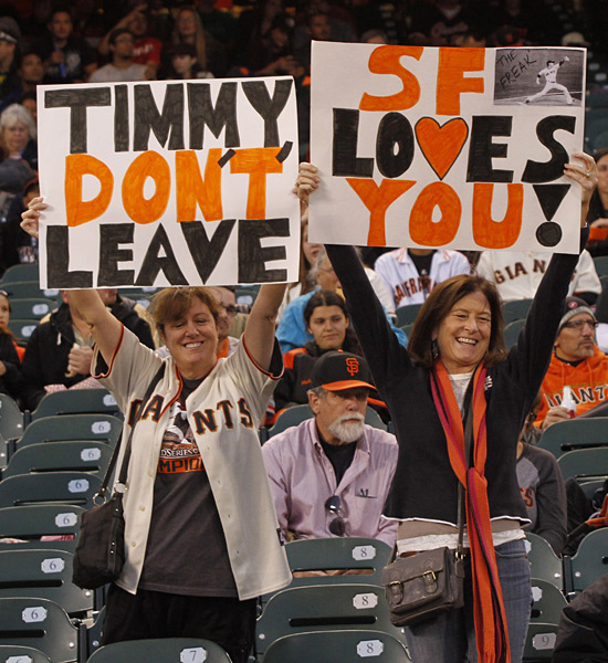 Timmy isn't leaving. The Giants signed their pitcher to a two-year, $35 million contract on Tuesday. (AP Photo/George Nikitin)