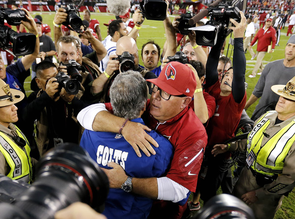 Bruce Arians and Chuck Pagano :: AP Photo/Matt York
