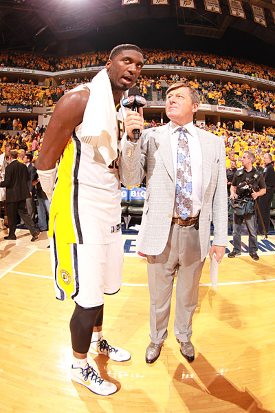 Roy Hibbert and Craig Sager ::  Nathaniel S. Butler/NBAE/Getty Images