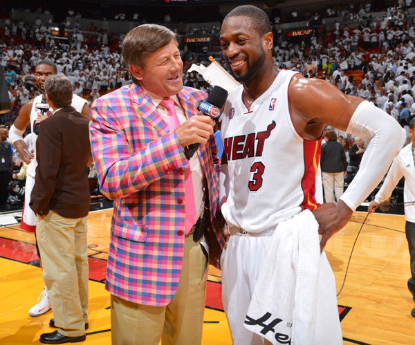 Craig Sager and Dwyane Wade :: Jesse D. Garrabrant/NBAE via Getty Images