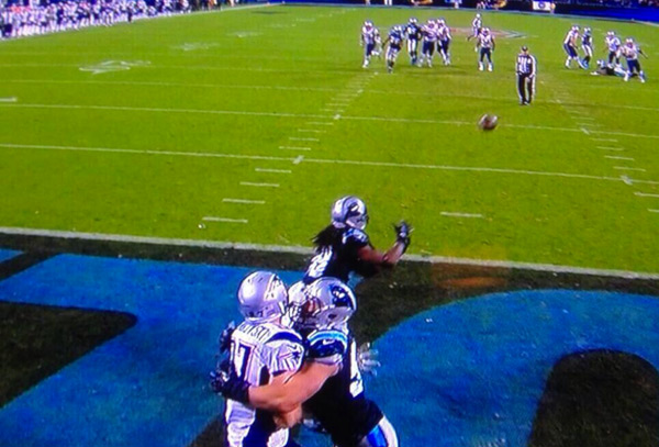 A screen grab of the controversial final play of the game.