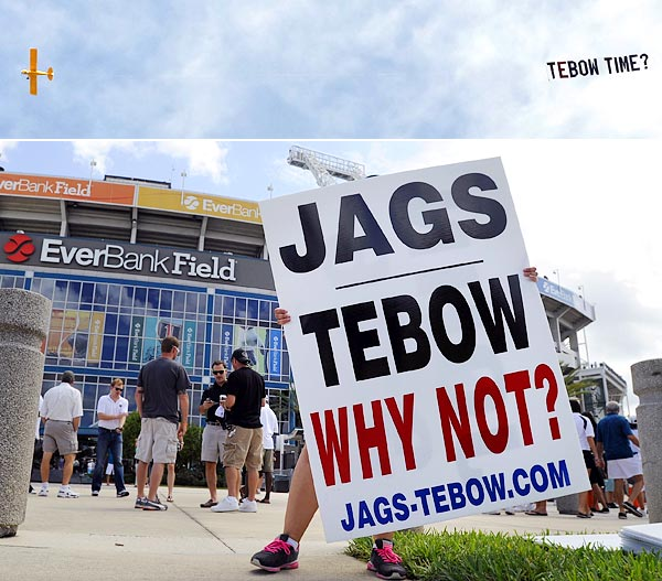 EVERYONE BEGGING THE JAGUARS TO SIGN TIM TEBOW: At various times this year, Jacksonville fans have pleaded with the Jaguars organization to sign Tim Tebow. They've petitioned the White House, held rallies, hired skywriters, and taken out newspaper ads.
