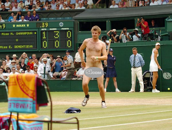 A streaker interrupts the Wimbledon match between Maria Sharapova and Elena Dementieva.