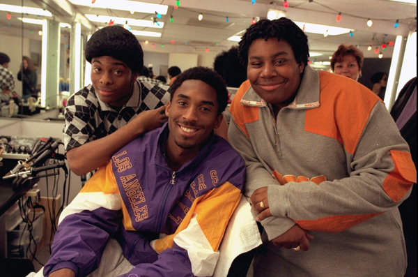 "Kobe Bryant with Kel Mitchell and Kenan Thompson before taping of ""All That"" (1998) :: AP"