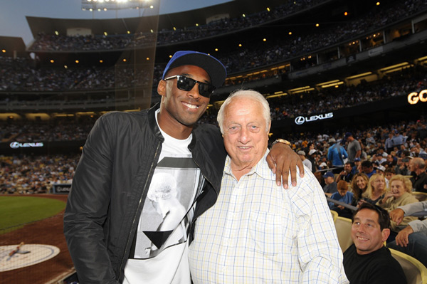 Kobe Bryant and Tommy Lasorda at Dodger Stadium (2013) :: Jill Weisledero/Los Angeles Dodgers via Getty Images