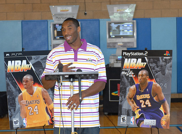 Kobe Bryant announces a new  PlayStation game at the Watts/Willowbrook Boys and Girls Club in Los Angeles (2006) :: Bob Riha Jr/WireImage