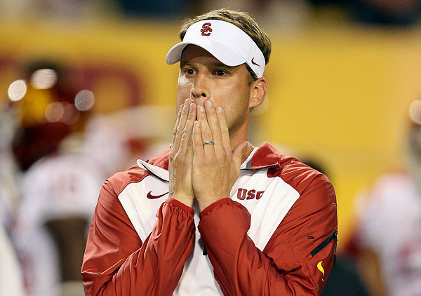 LANE KIFFIN: With Kiffin as head coach, USC's football team started the year 3-2, losing to Washington State at home and giving up 62 points at Arizona State in a game that was so embarrassing that university athletic director Pat Haden fired Kiffin in th