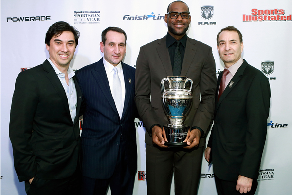 "LeBron James in a black suit for the Sports Illustrated ""Sportsman of the Year"" gala. (John Lamparski/Wire Image)"
