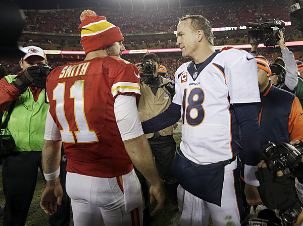 Alex Smith and Peyton Manning :: AP