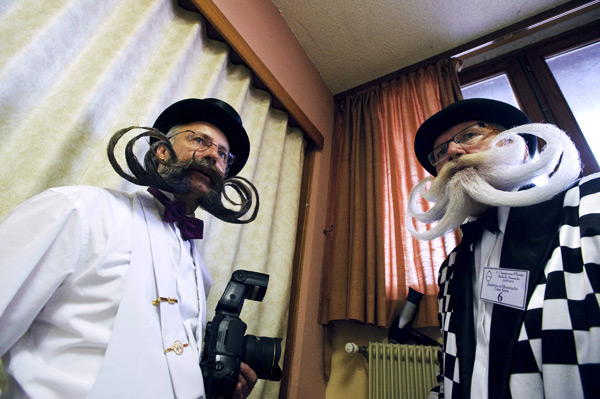 Competitors at the 2012 World Beard and Moustache Championships ::  SEBASTIEN BOZON/AFP/GettyImages