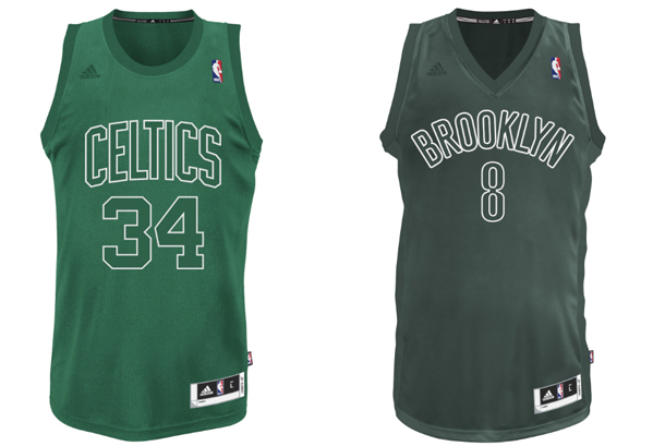 2012 Christmas jerseys for the Celtics and Nets. (NBA)