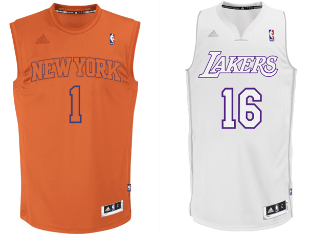 2012 Christmas jerseys for the Knicks and Lakers. (NBA)