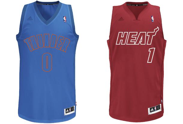 2012 Christmas jerseys for the Thunder and Heat. (NBA)