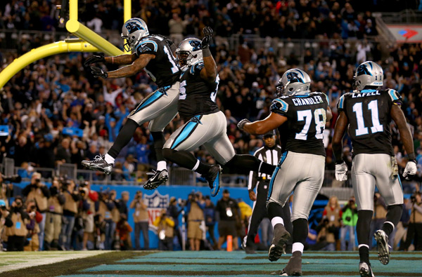 Ted Ginn celebrates his fourth quarter touchdown. (Streeter Lecka/Getty Images)