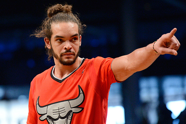 Bulls center Joakim Noah in his Christmas Day jersey. (Christopher Pasatieri/NBAE/Getty Images)