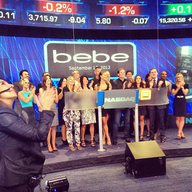 September: Ringing the opening bell at NASDAQ with Bebe