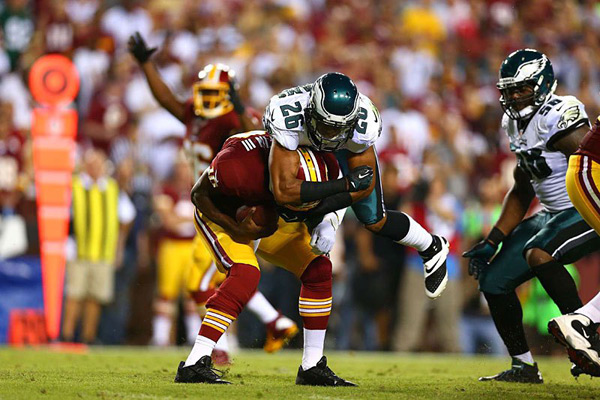 Cary Williams and Robert Griffin III :: Simon Bruty/SI