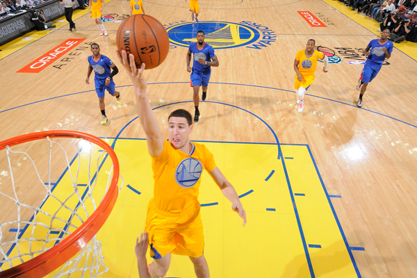 Warriors guard Klay Thompson in his Christmas Day jersey. (Rocky Widner/Getty Images)