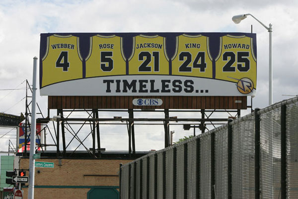 In Sept, 2007, Jalen Rose purchased this billboard in Detroit to honor the Fab Five's accomplishments. (AP Photo/The Free-Press, Patricia Beck)