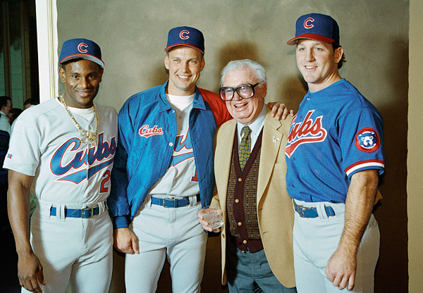 Sammy Sosa, Mark Grace, Harry Caray and Rick Wilkins :: AP