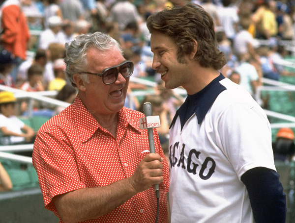 Harry Caray and Bill Nahorodny :: Photo by Hal Stoelzle