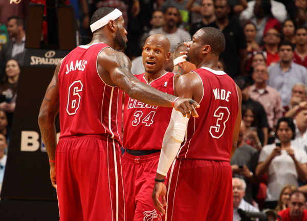 LeBron James, Ray Allen and Dwyane Wade :: Getty Images