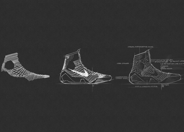 "A schematic drawing of the ""Kobe 9,"" Kobe Bryant's latest Nike signature shoe. (Nike)"