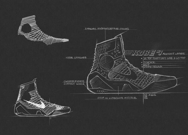 "A schematic drawing of the ""Kobe 9,"" Kobe Bryant's latest Nike signature shoe. (Nike)"