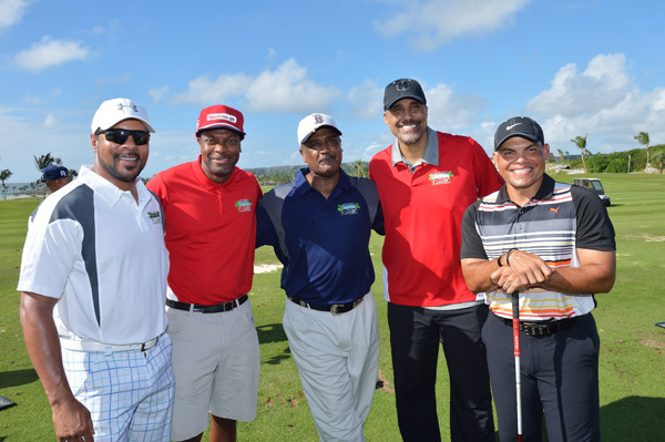 Barry Larkin, Chris Tucker, Jim Rice, Rick Fox and Ivan Rodriguez  :: Photo Courtesy of  David Ortiz Children's Fund