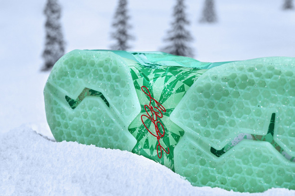 A look at the sole of the Christmas version of LeBron James' signature Nike sneaker, the LeBron 11. (Nike)