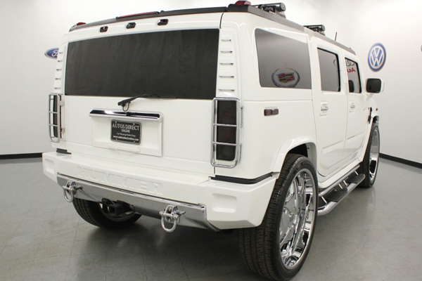 A rear angle view of the Hummer H2 that LeBron James drove during high school (Autos Direct Online)