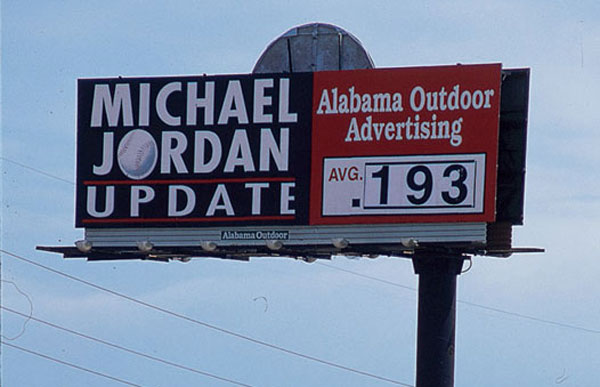 In 1994, this promotional billboard was erected in Birmingham, Ala. to update motorists on Michael Jordan's batting average during his stint with the Barons. (Patrick Murphy-Racey/SI)