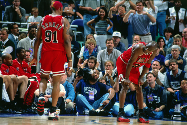 Michael Jordan and Dennis Rodman :: Nathaniel S. Butler/NBAE via Getty Images