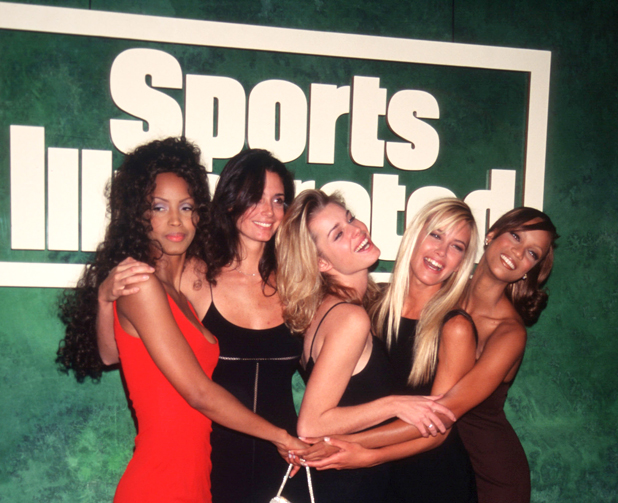 Launch party, 1996 (from left: Georgianna Robertson, Stacey Williams, Rebecca Romijn, Valeria Mazza, Tyra Banks)  ::   Evan Agostini/Liaison
