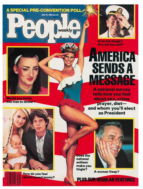 1/16/84: Christie's appearance on the cover of the politically themed issue was strictly a modeling gig.