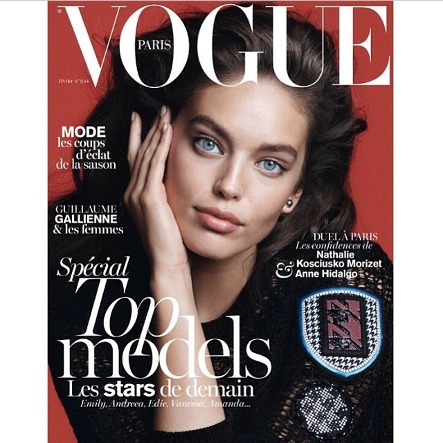 @emilydidonato1: hhhhhhh can't believe my eyes! SO excited to see myself on the cover of the February issue of @vogueparis shot by David Sims styled by @emmanuellealt hair by @paulhanlonhair
