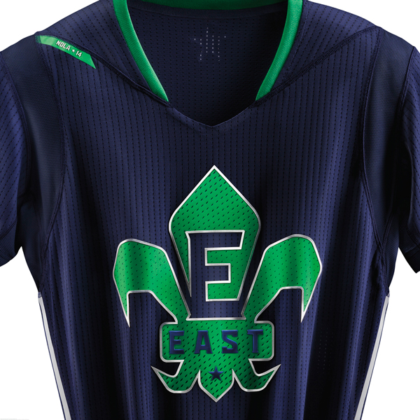 A close-up look at the 2014 NBA All-Star jersey for the East. (Adidas)