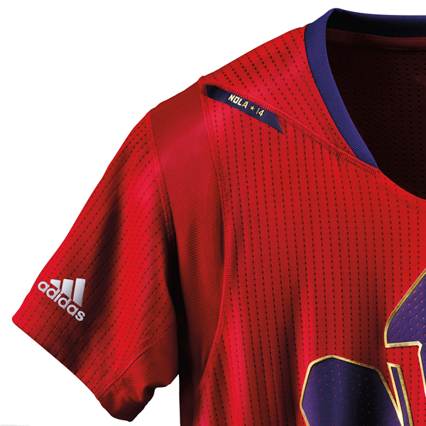 A look at the sleeve of the 2014 NBA All-Star jersey for the West. (Adidas)