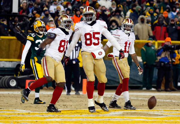 Vernon Davis, Anquan Boldin and Quinton Patton :: Getty Images