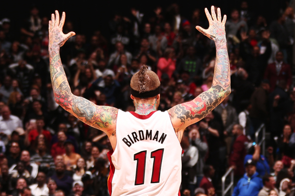 "Heat forward/center Chris Andersen wears his ""Birdman"" nickname jersey. (Nathaniel S. Butler/Getty Images)"