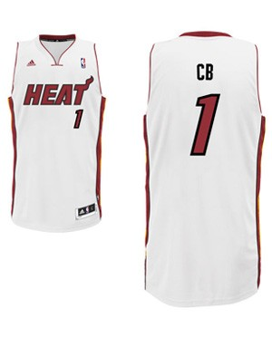 "Heat forward Chris Bosh's ""CB"" nickname jersey. (Heat.com)"