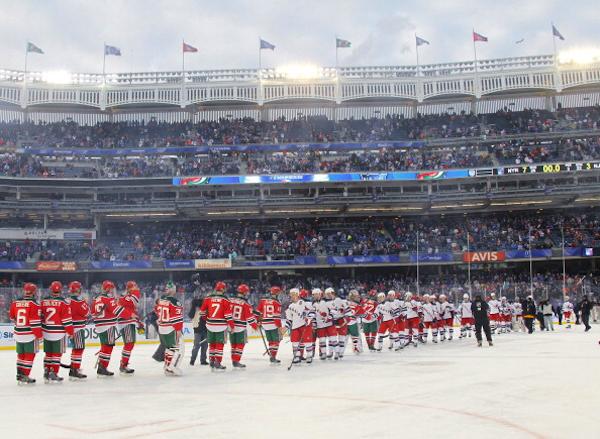 Handshakes. (NHLI via Getty Images)