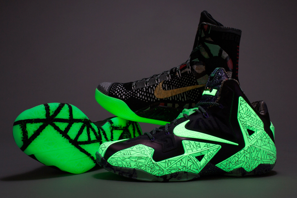 The 2014 All-Star Game sneakers for Kevin Durant, Kobe Bryant and LeBron James glow in the dark. (Nike)