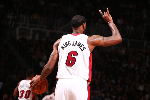 "Heat forward LeBron James wears his ""King James"" nickname jersey. (Nathaniel S. Butler/Getty Images)"