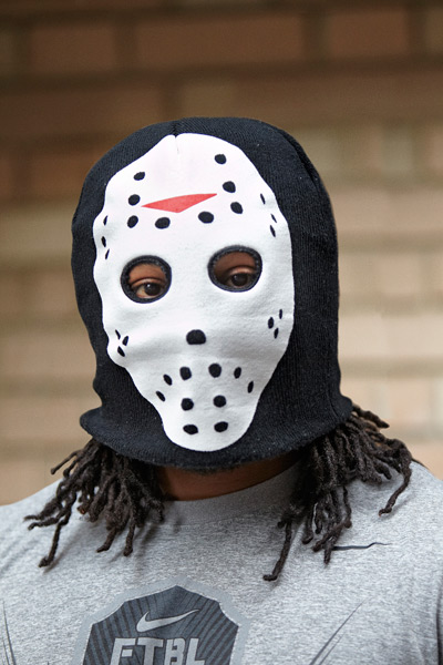 Lynch wears a ski mask during a 2012 SI photo shoot. (Deanne Fitzmaurice/SI)