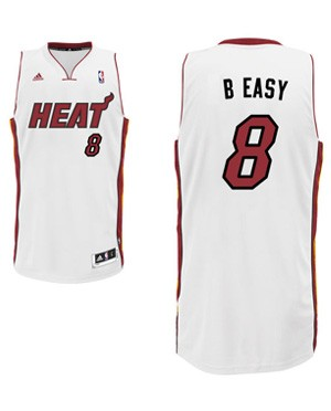 "Heat forward Michael Beasley's ""B Easy"" nickname jersey. (Heat.com)"