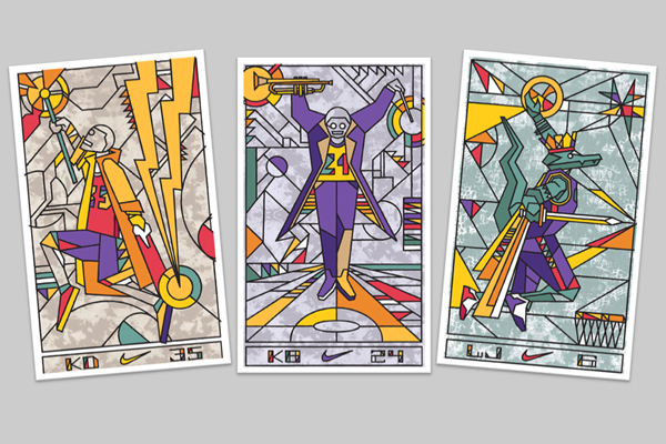 Tarot card artwork for, from left: Kevin Durant, Kobe Bryant and LeBron James. (Nike)